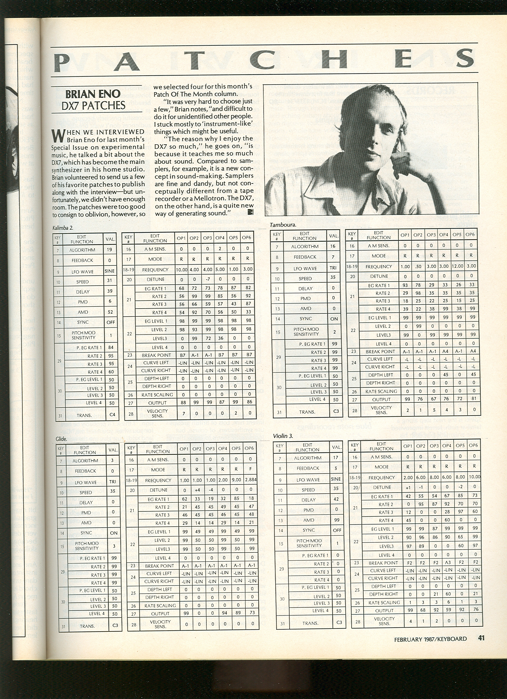 DX7 Patches from Brian Eno!
